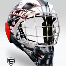 'Bane' Goalie mask designed and airbrushed by Ian Johnson for NLL Goalie, Tyler Richards, of the Vancouver Stealth