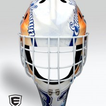 'Jim Brown & Ernie Davis Tribute' Goalie mask designed and airbrushed by Ian Johnson