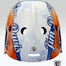 'Jim Brown & Ernie Davis Tribute' Goalie mask designed and airbrushed by Ian Johnson. Notice how the logos are made to look like they're under a sheet of ice that's been skated over