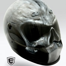 'Punisher' Motorcycle helmet designed and airbrushed by Ian Johnson