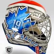 'Legacy' Goalie mask designed and airbrushed by Ian Johnson for WLA Maple Ridge Burrards goalie Frankie Scigliano