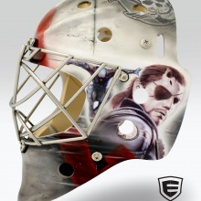 'Metal Gear Solid' Goalie mask designed and airbrushed by Ian Johnson