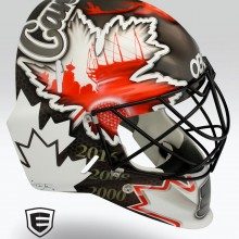'Rio' Goalie mask designed and airbrushed by Ian Johnson for Team Canada Field Hockey Goalie, Dave Carter, for the 2016 Summer Olympics