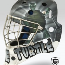 'Fear The Turtle' Goalie mask designed and airbrushed by Ian Johnson