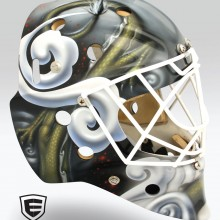 'Golden Dragon' Goalie mask designed and airbrushed by Ian Johnson