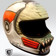 'Monster Road Rage' Road racing helmet designed and airbrushed by Ian Johnson