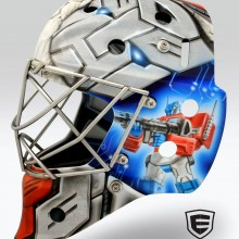 'Transformers' Goalie mask designed and airbrushed by Ian Johnson #ianjohnsonart #excaliburairbrushing #goaliemasks #customairbrushing #airbrushartist #goaliemaskpainting #maskpainting #helmetpainting #customhelmets #customairbrushedgoaliemasks