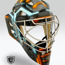 'Tron' Goalie mask designed and airbrushed by Ian Johnson