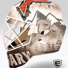 'Westcoast Roughnecks' Goalie mask designed and airbrushed by Ian Johnson for NLL Calgary Roughnecks goalie, Frankie Scigliano