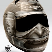 'Ronan' Motorcycle helmet designed and airbrushed by Ian Johnson