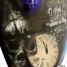 'O Death Where Is Thy Sting' Suzuki M109R2 Motorcycle Tank designed and airbrushed by Ian Johnson