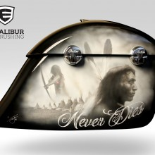 'Heart of an Indian Never Dies' Indian saddlebag designed and airbrushed by Ian Johnson