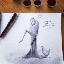 'Chicken' InkTober creature illustration by Ian Johnson