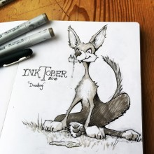 'Drooling' InkTober creature illustration by Ian Johnson