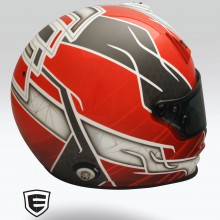 Auto Racing Helmet with gloss & matte clearcoat designed and airbrushed by Ian Johnson