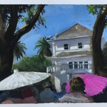 Emily & Trevin McConnell's Wedding at Delta Diamond Farm Event Centre, California – water colour painting by Ian Johnson