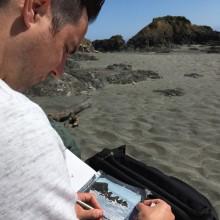 Shell Beach, The Sea Ranch, California – enjoying some painting while on vacation :-) #searanch #shellbeach #ianjohnsonart #excaliburairbrushing