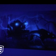 'The Beast' Mustang car door and front quarter panel designed and airbrushed by Ian Johnson (for an added effect, Ian airbrushed a bit of black light paint over certain areas – it's unnoticeable over the regular paint but shows up under black light)