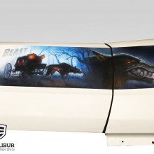 'The Beast' Mustang car door and front quarter panel designed and airbrushed by Ian Johnson
