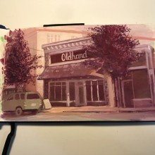 Old Hand coffee shop, Abbotsford, BC – Painting by Ian Johnson