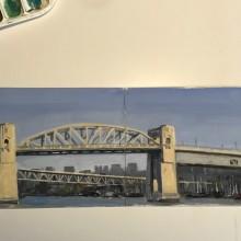 Burrard Street Bridge from Sunset Beach, Vancouver – Painting by Ian Johnson